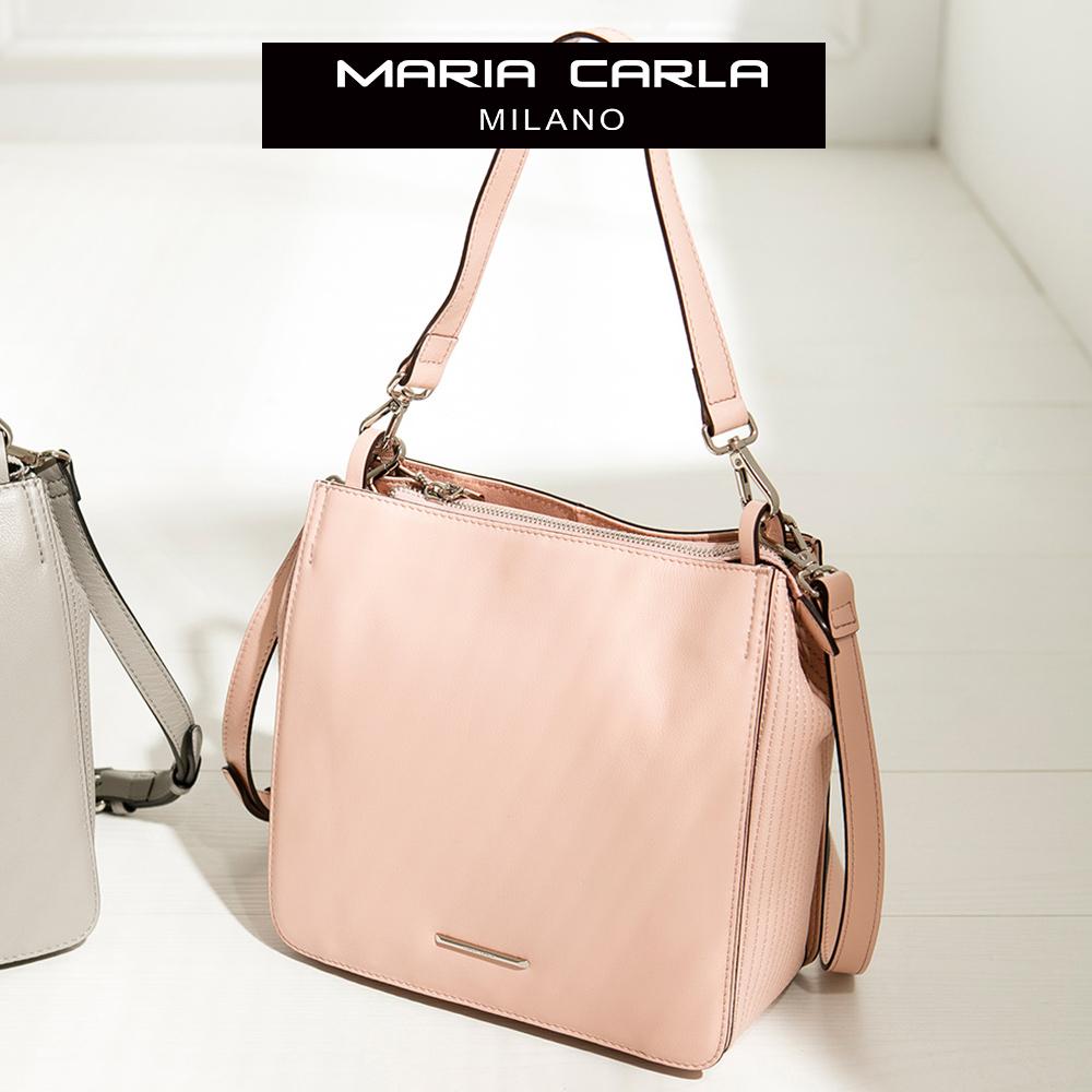 MARIA CARLA 經典牛皮硬挺側背方包(小) 完美格調系列(優雅粉 )