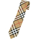 BURBERRY Vintage 現代剪裁格紋絲質領帶(古典黃)