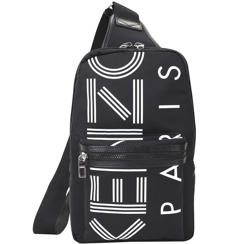 KENZO LOGO 品牌幾何尼龍單肩背包(黑色)