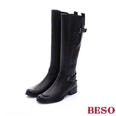 BESO 都會摩登女郎 真皮雙飾釦軍風長靴~黑