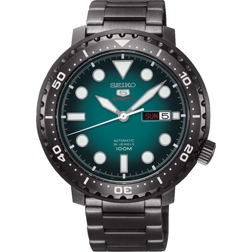 SEIKO 精工5號 罐頭造型機械錶(SRPC65J1)-綠x黑/45mm