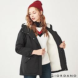 GIORDANO 女裝刷毛鋪棉短版連帽厚外套-09 標誌黑