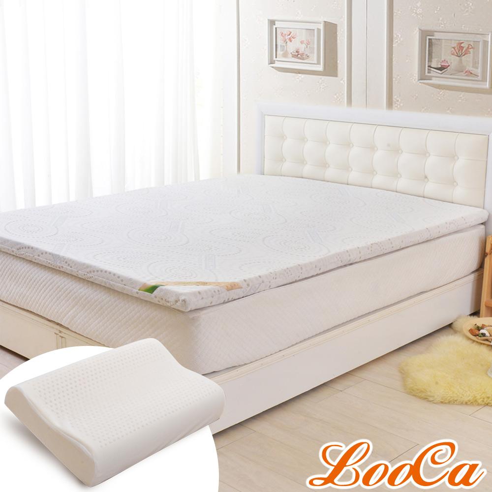 (福氣超值組)LooCa 德國銀離子抗菌5cm七段式乳膠床墊-加大6尺