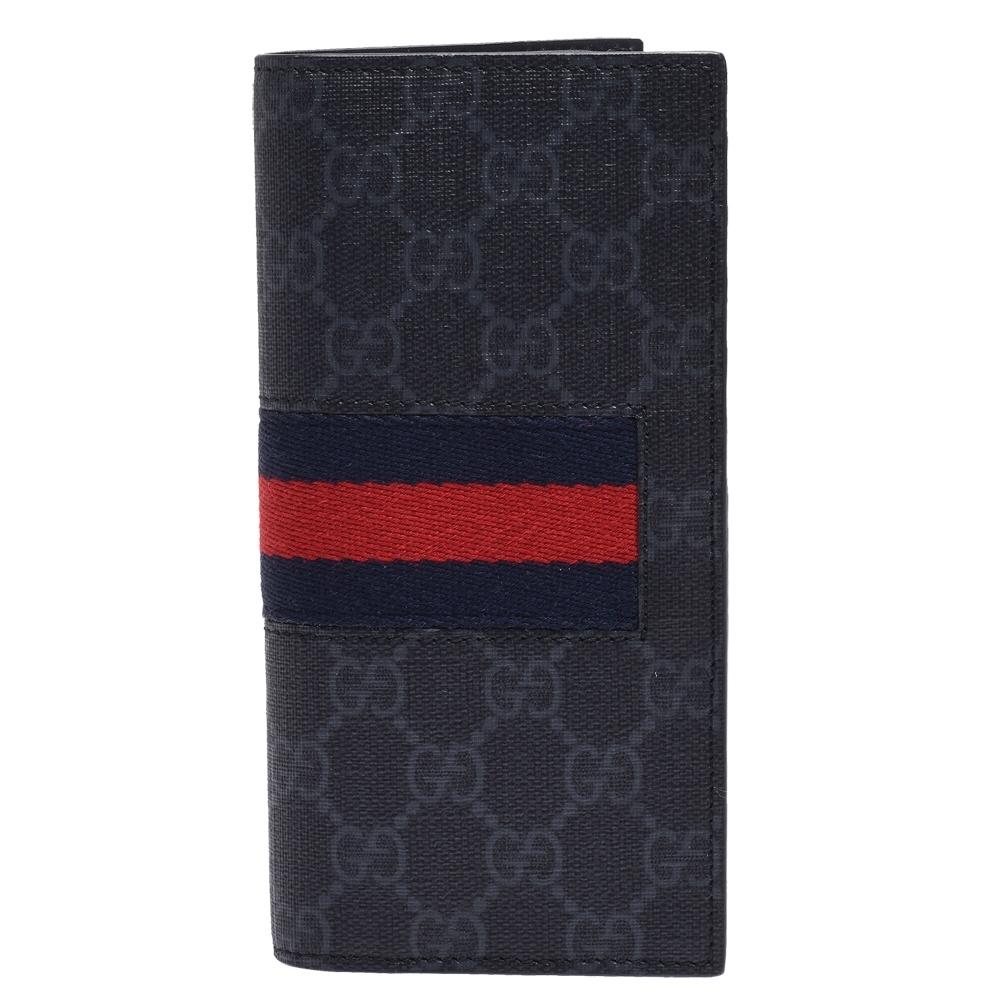 GUCCI 經典GG Supreme帆布綠紅綠織帶牛皮內襯摺疊長夾(灰)
