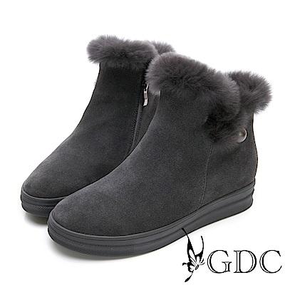 GDC-真皮秋冬超萌毛毛圓頭短靴-灰色