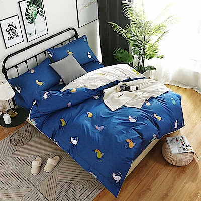 夢工場 時尚貓咪60支紗埃及棉床包兩用被組-雙人