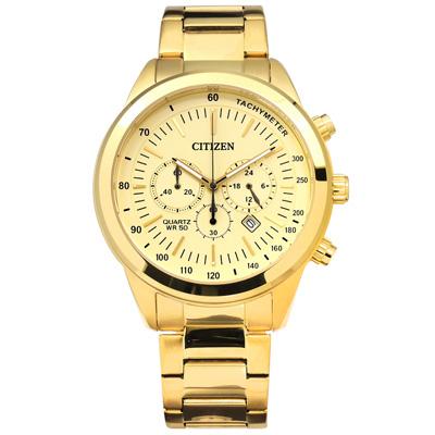 CITIZEN 星辰表 三眼礦石強化玻璃日期視窗日本機芯不鏽鋼手錶-鍍金/46mm