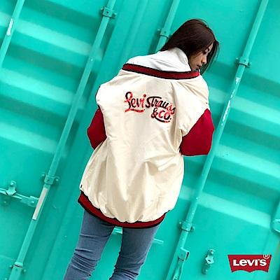Levis 女款 棒球外套 亮片LOGO 長版