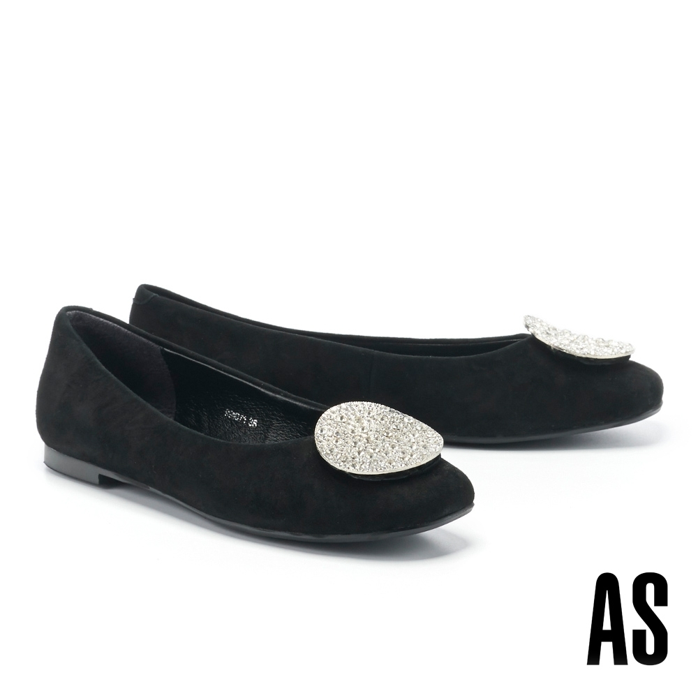 平底鞋 AS 復古時尚晶鑽圓釦全真皮方頭平底鞋-霧黑