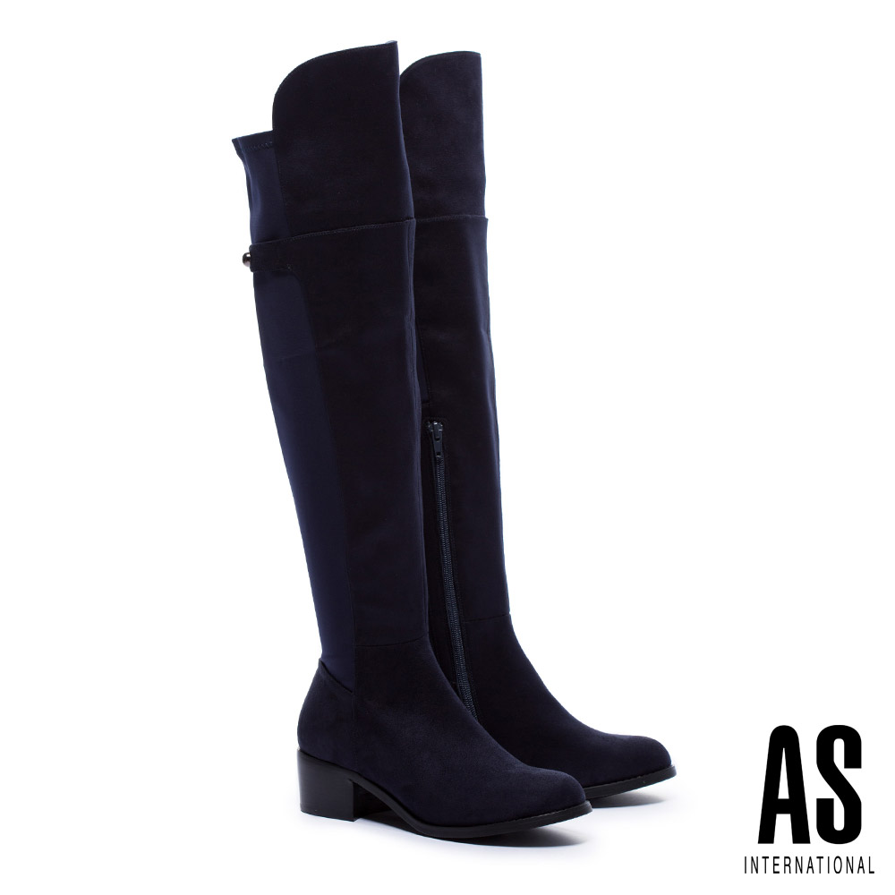 長靴 AS 俐落線條異材質拼接麂布純色彈力高跟過膝長靴-藍