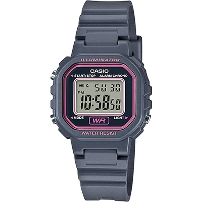CASIO 復古風的方形電子錶款-灰(LA-20WH-8A)/30mm