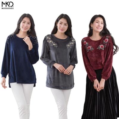 CorpoX & MARKABADU 女款絨布刺繡串珠上衣-3件組