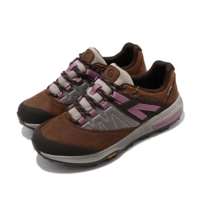 Merrell 戶外鞋 Zion GTX 運動 女鞋 登山 越野 耐磨 黃金大底 透氣 防潑水 棕 灰 ML033938