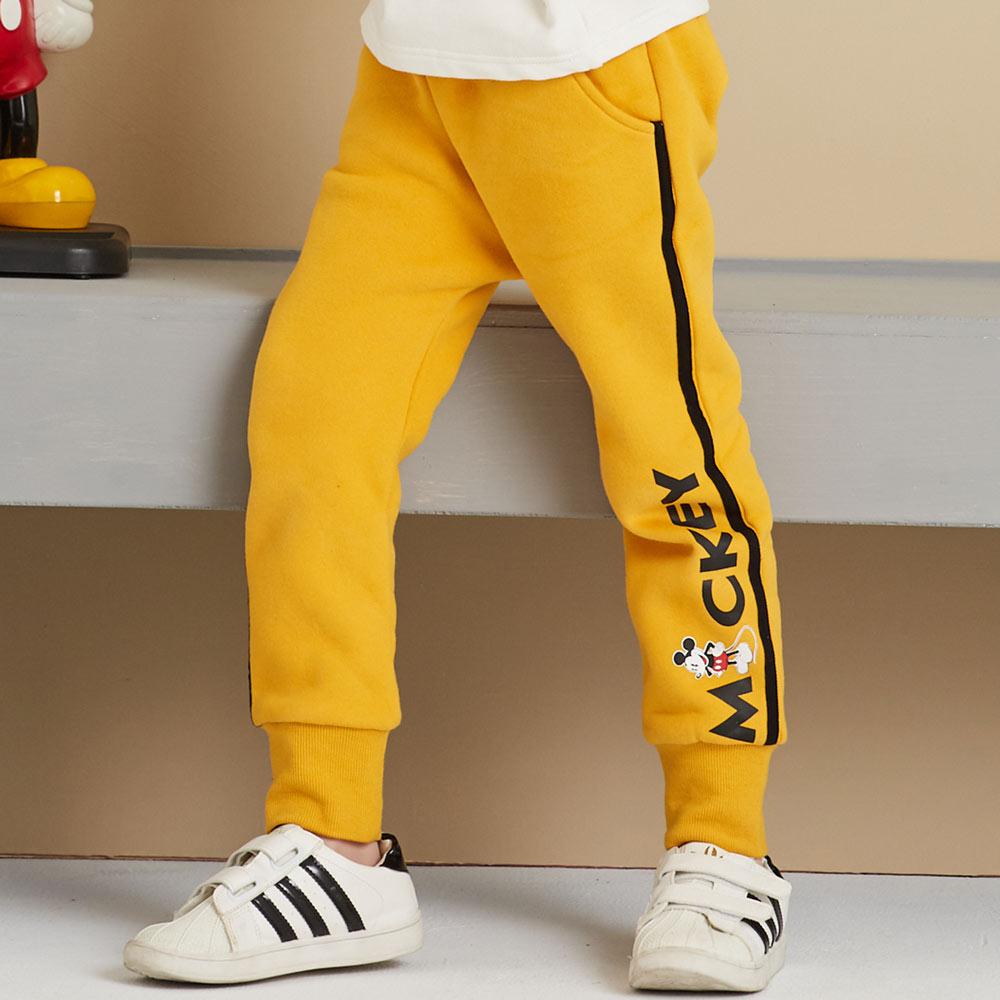 Disney 米奇系列滾條刷毛束口褲(共2色)