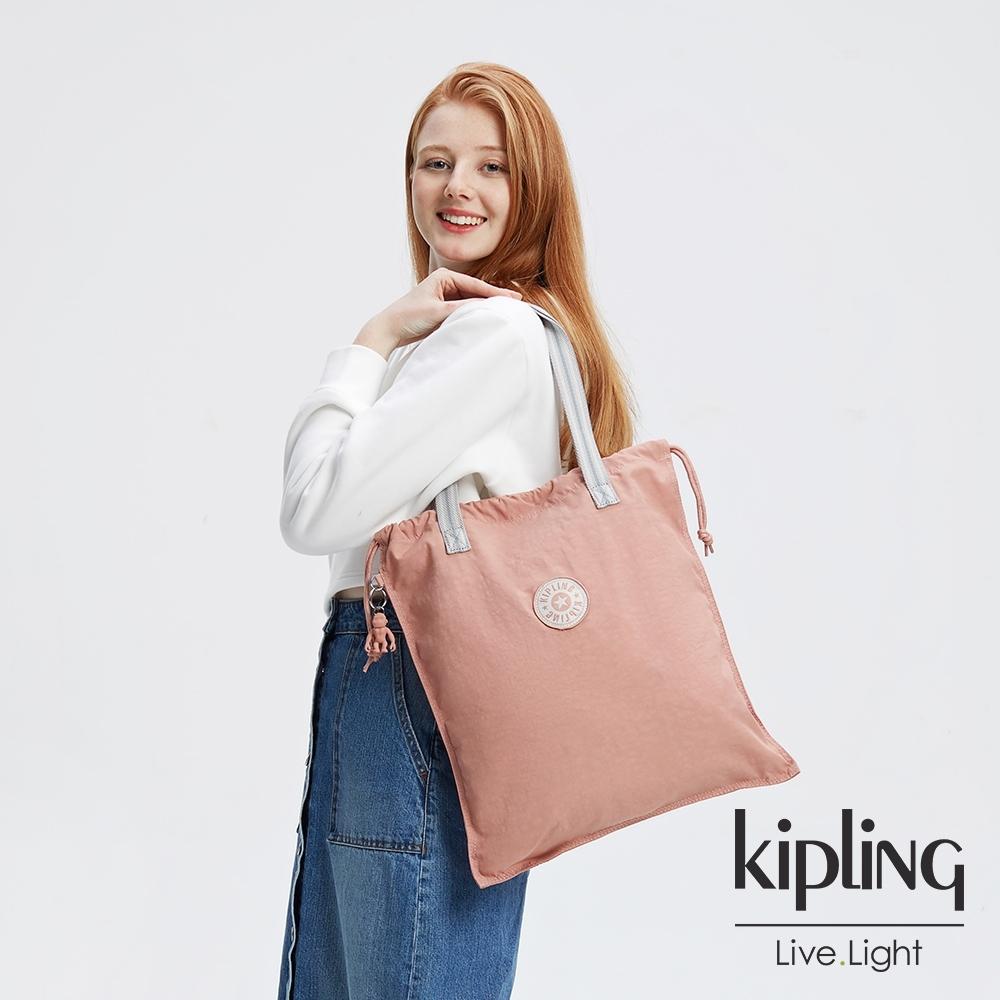Kipling 奶油草莓拿鐵色手提束口包-NEW HIPHURRAY