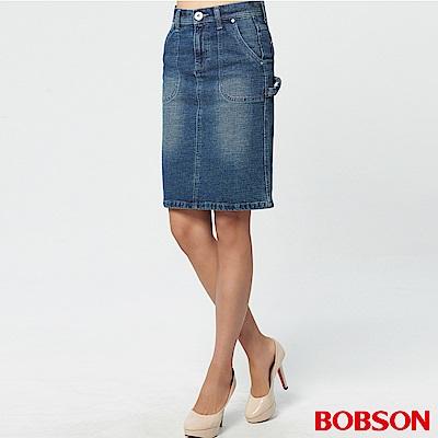 BOBSON 女款粗結紗牛仔中長裙
