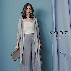 東京著衣-KODZ 慵懶質感織紋長版薄外套-(共二色)