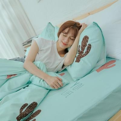 BUHO 乾爽專利機能雙人加大三件式床包枕套組(多肉寓所)