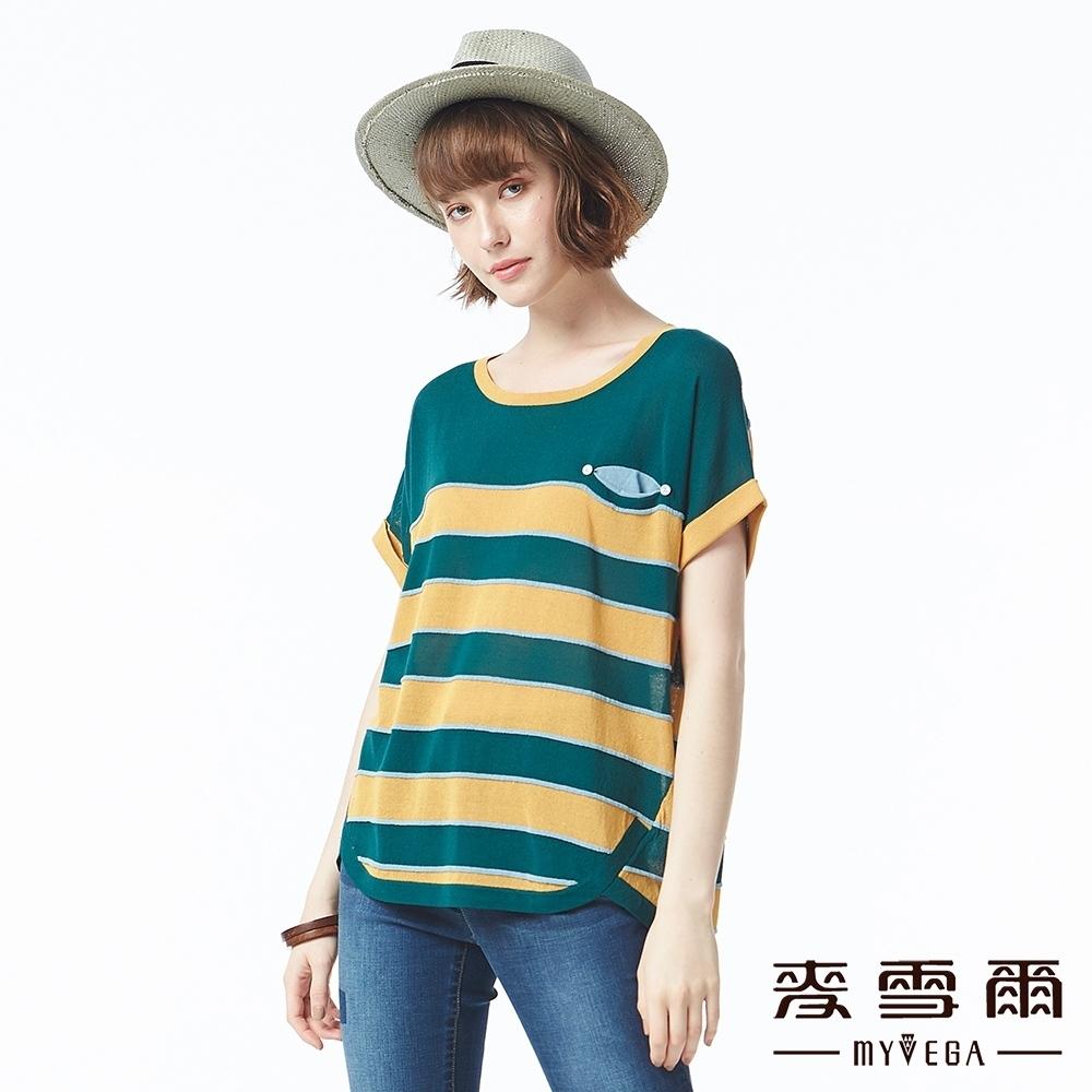 麥雪爾 配色條紋微透膚針織上衣-綠