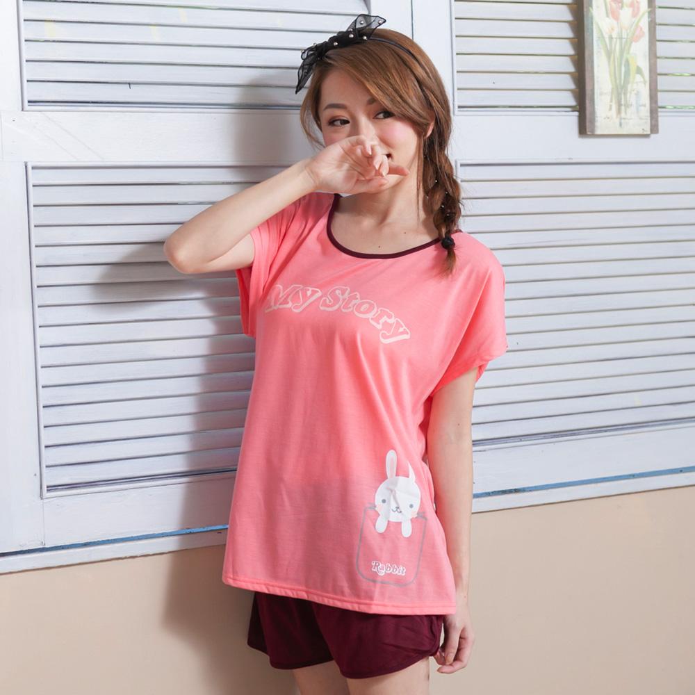 睡衣 彈性棉質短袖兩件式睡衣(C01-100554小白兔故事)Young Curves