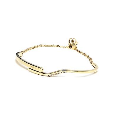 agnes b. LOGO可調式白鋼手環(金)