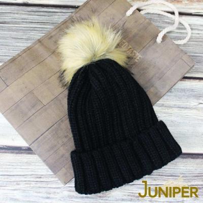 JUNIPER雙層加厚針織保暖防風毛線冬帽+可拆卸毛球