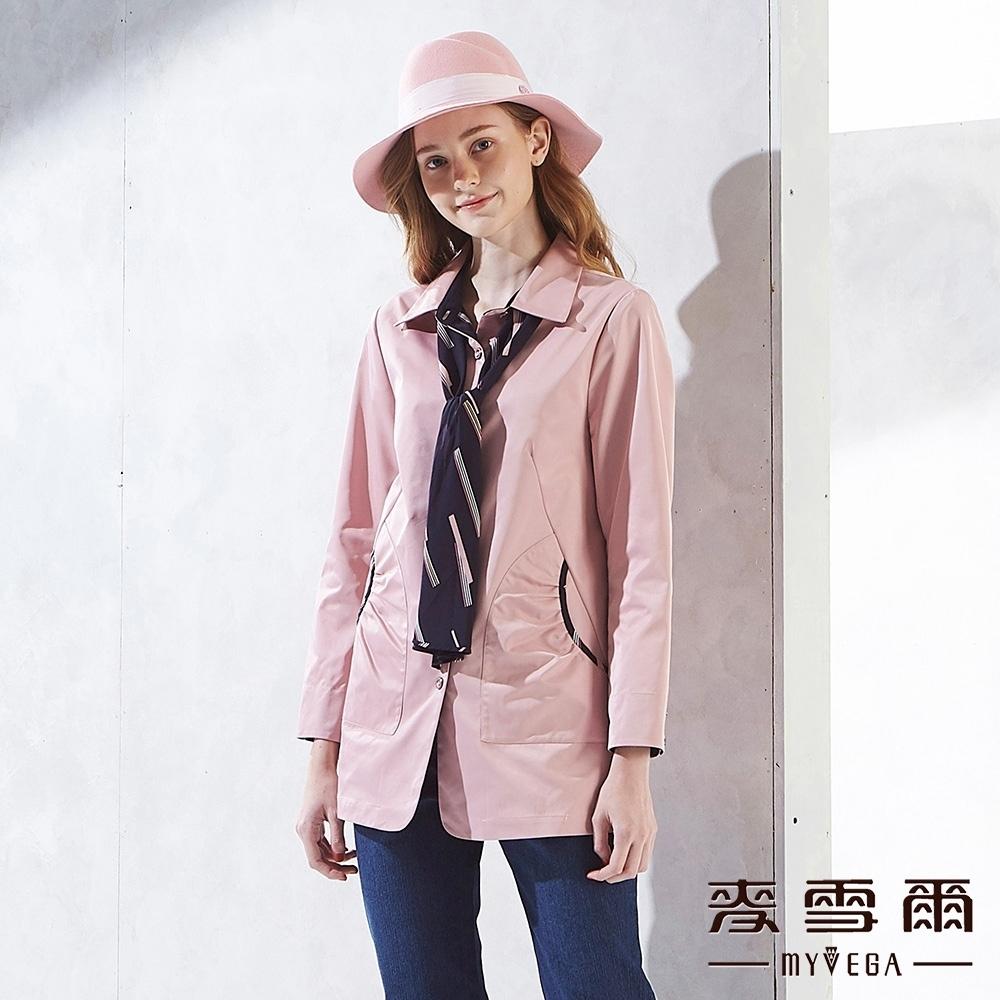 麥雪爾 線條領巾造型長版長袖上衣-粉