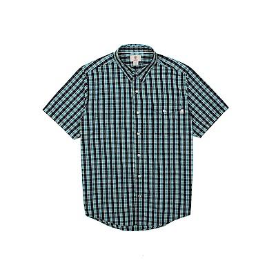 Timberland 男款藍綠格休閒短袖襯衫 | A1M31B68