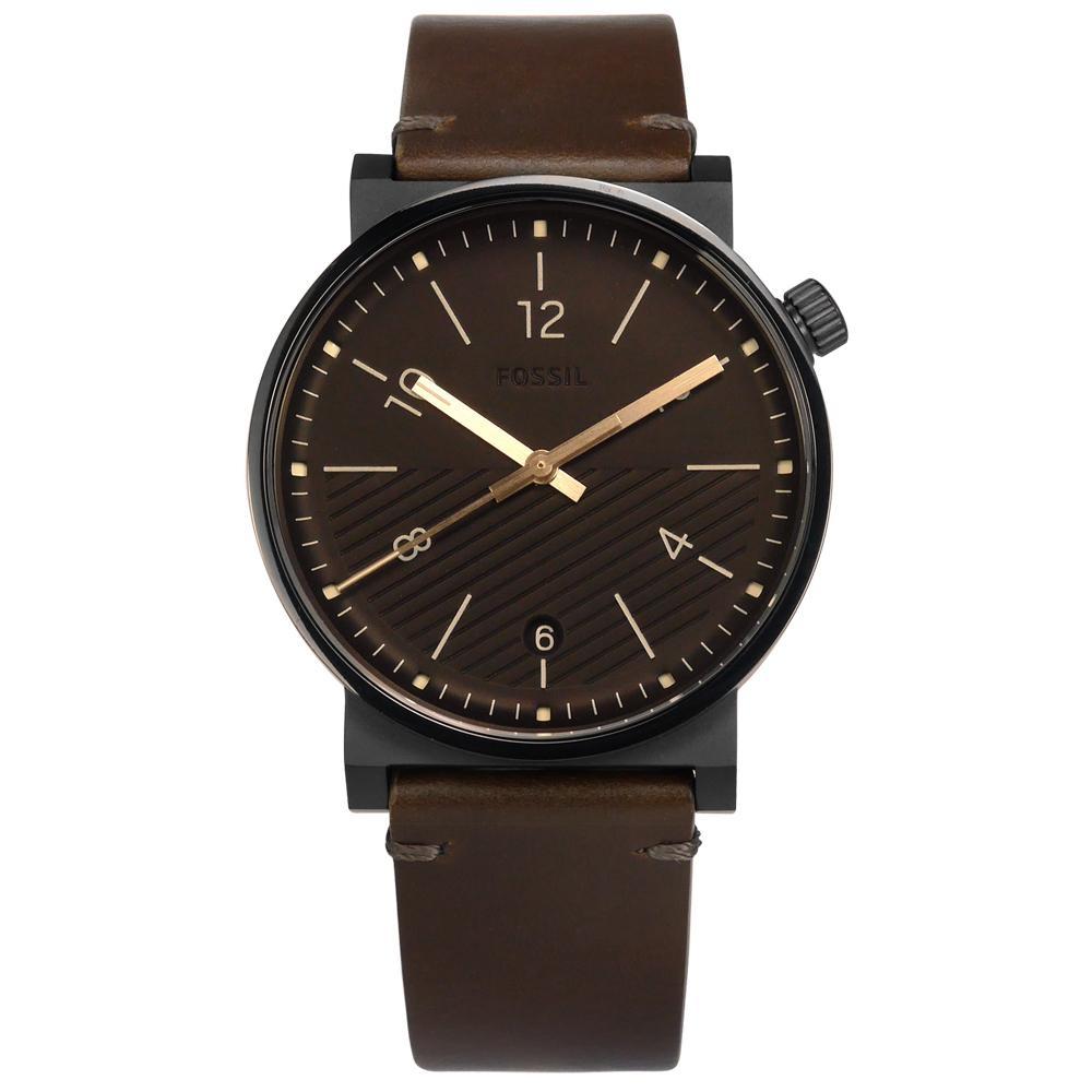 FOSSIL Barstow 地平線 斜紋設計 日期 真皮手錶-深褐x黑框/42mm
