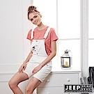 JEEP 女裝 甜美女孩造型休閒吊帶短褲-白色