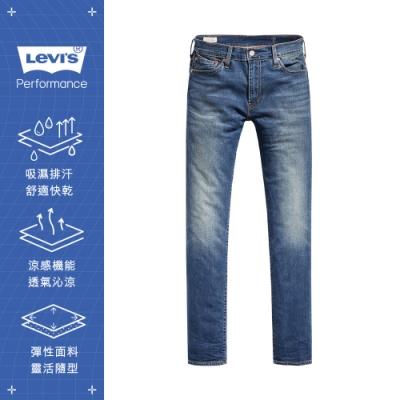Levis 男款 511低腰修身窄管牛仔褲 Cool Jeans 輕彈有型 中藍刷白