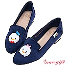 Disney collection by grace gift-造型絨布樂福鞋 深藍