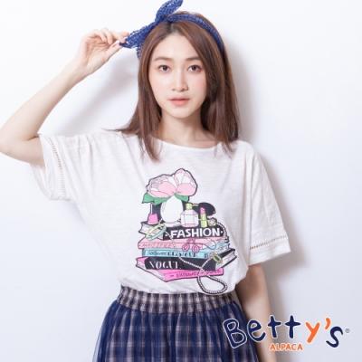 betty's貝蒂思 微透膚前印花T-shirt(白色)
