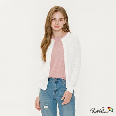 Arnold Palmer-女裝-滿版傘繡花針織開襟衫-白色