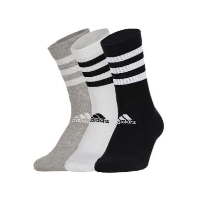 ADIDAS 男女運動中筒襪-三雙入 3-STRIPES 三入 三色 襪子 長襪 愛迪達 DZ9345 黑白灰