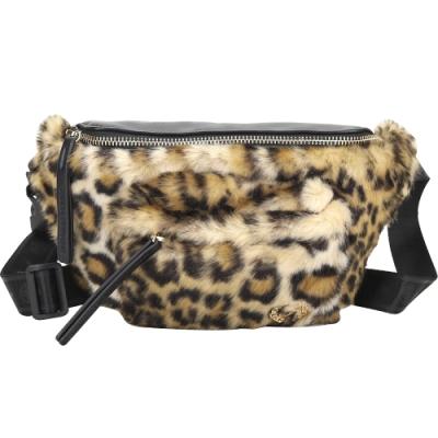 Chiara Ferragni Leopard 毛絨豹紋拼接胸肩背/腰包(黑色)