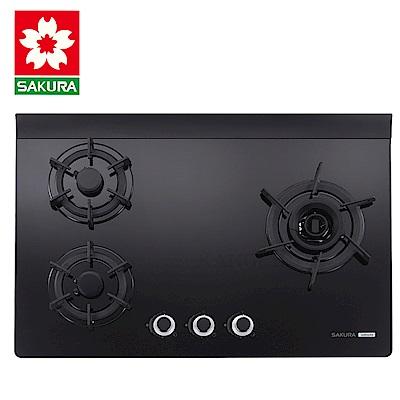 櫻花牌 G2932AG 創新雙炫火強化玻璃檯面式三口瓦斯爐(天然)