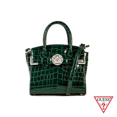 GUESS-女包-鱷魚壓紋手提肩背包-綠 原價6490