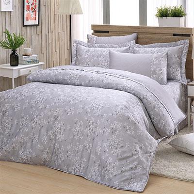 LASOL睡眠屋-40支/100%奧地利天絲 加大兩用被床罩六件組清新花漾灰