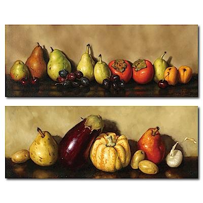 橙品油畫布-兩聯式橫幅掛畫無框畫-廚師的料理清單80x30cm