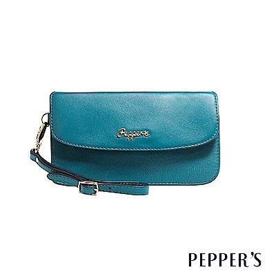 PEPPER`S Sophia 羊皮掀蓋手拿包 - 土耳其藍