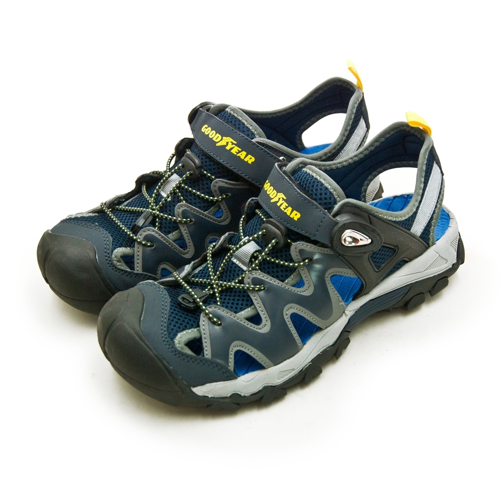 GOODYEAR 固特異 專業戶外踏青旅遊護趾磁扣運動涼鞋 藍灰黑 93688