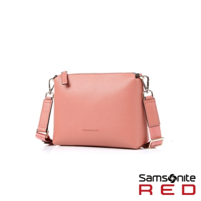 Samsonite RED HANIEE 繽紛多彩皮革肩背包(粉)