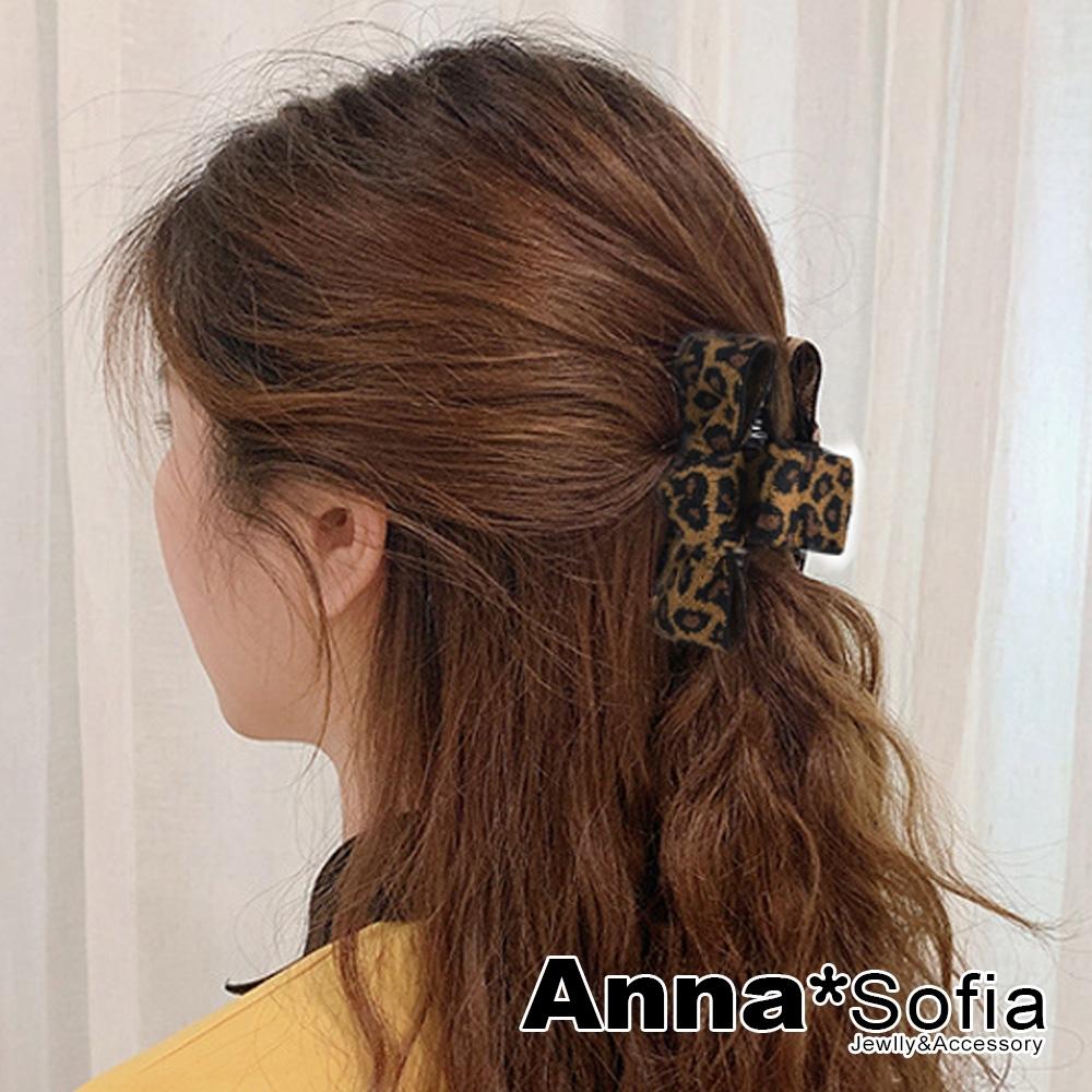 AnnaSofia 豹紋中央結 純手工鯊魚夾髮抓髮夾(駝咖系)