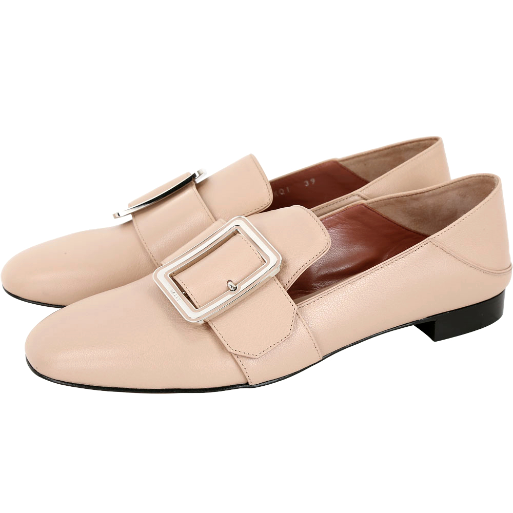 BALLY JANELLE 裸膚色穿釦設計皮革穆勤鞋(37.5號/展示品)