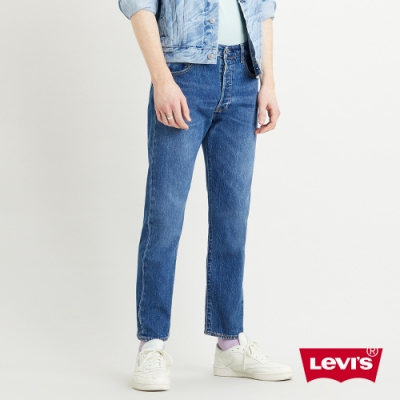 Levis 男款 501 93復刻板排釦小直筒牛仔褲 中藍水洗 彈性布料