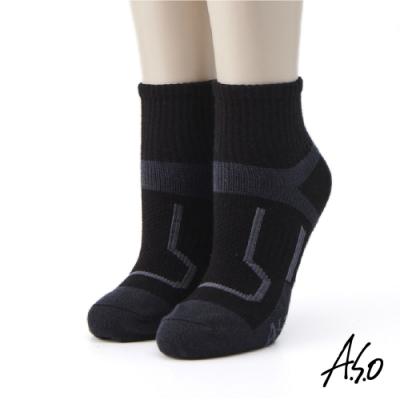 A.S.O長效抑菌系列-運動短襪-黑色