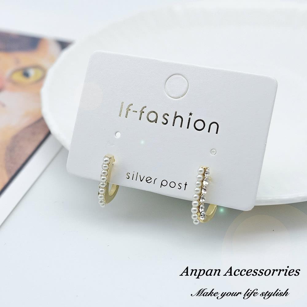 【ANPAN愛扮】925銀針韓東大門J女郎珍珠水鑽耳環