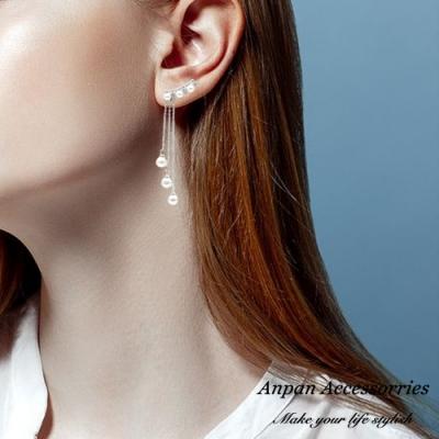 【ANPAN愛扮】韓東大門珍珠典雅仙氣垂墜925銀針耳釘式耳環