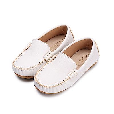 BuyGlasses 素面質感兒童樂福鞋-白